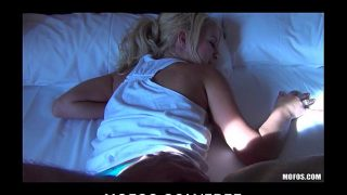 Beautiful bubble-butt blonde Destiny is woken up for rough-sex