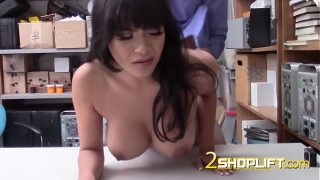 Busty latina gets hammered on desk by randy guard
