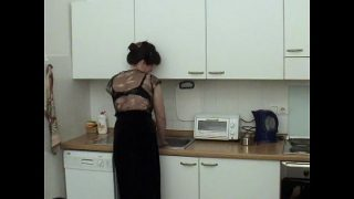 Horny Mom and son having hot fuck in the kitchen